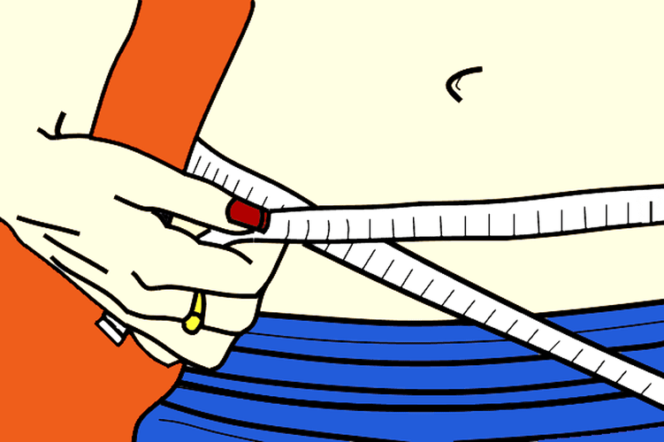 Ilustration Woman Measuring Waist
